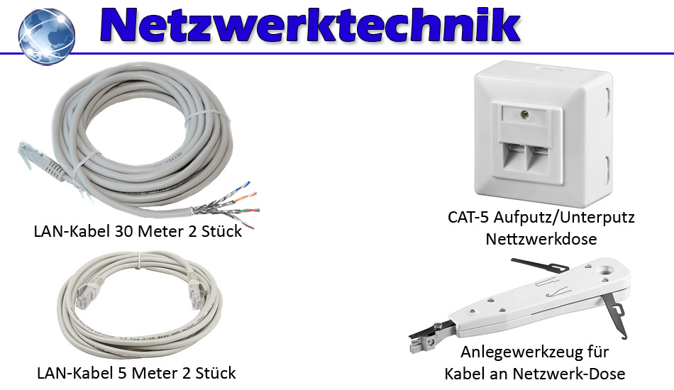 netzwerk kabel set 2x cat 5e netzwerk dosen 2x30m 2x5m lan kabel lsa werkzeug ebay. Black Bedroom Furniture Sets. Home Design Ideas